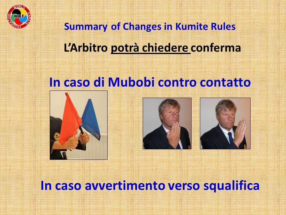 LArbitro potrà chiedere conferma Summary of Changes in Kumite Rules In caso di Mubobi contro contatto In caso avvertimento verso squalifica