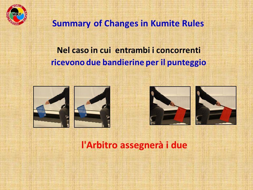 Nel caso in cui entrambi i concorrenti ricevono due bandierine per il punteggio l'Arbitro assegnerà i due Summary of Changes in Kumite Rules