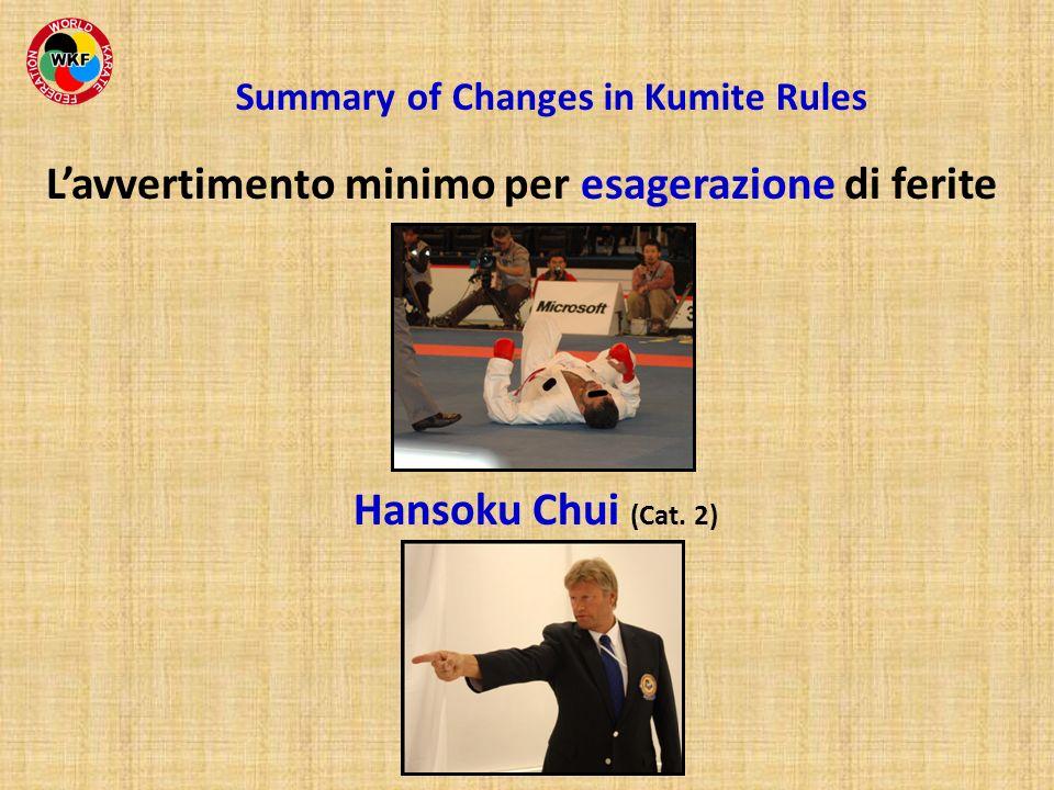 Lavvertimento minimo per esagerazione di ferite Hansoku Chui (Cat. 2) Summary of Changes in Kumite Rules
