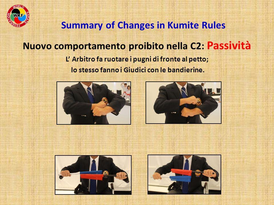 Nuovo comportamento proibito nella C2: Passività L Arbitro fa ruotare i pugni di fronte al petto; lo stesso fanno i Giudici con le bandierine. Summary