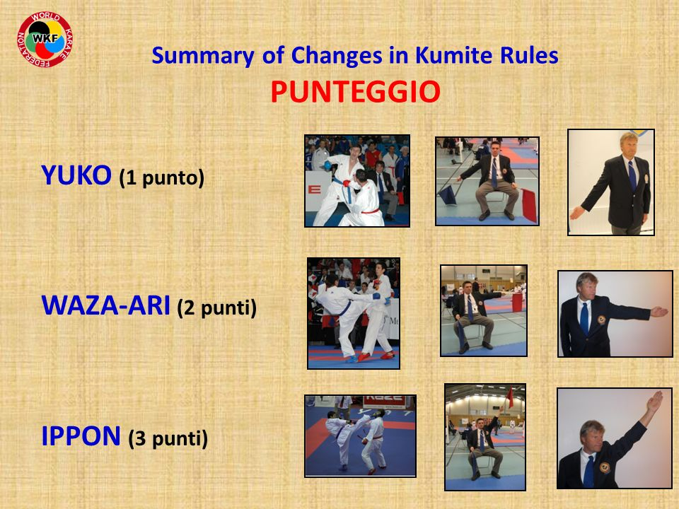 Summary of Changes in Kumite Rules PUNTEGGIO YUKO (1 punto) WAZA-ARI (2 punti) IPPON (3 punti)