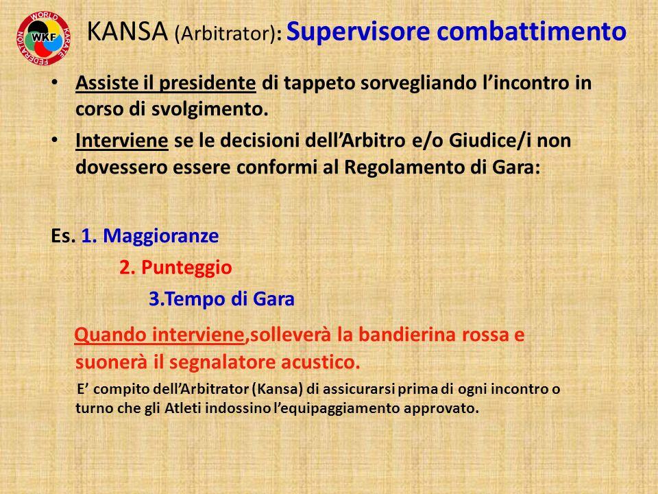KANSA (Arbitrator): Supervisore combattimento Assiste il presidente di tappeto sorvegliando lincontro in corso di svolgimento. Interviene se le decisi