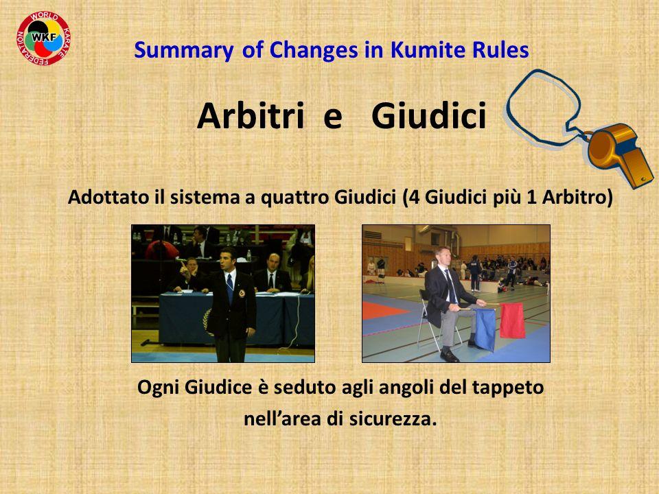 Adottato il sistema a quattro Giudici (4 Giudici più 1 Arbitro) Ogni Giudice è seduto agli angoli del tappeto nellarea di sicurezza. Summary of Change