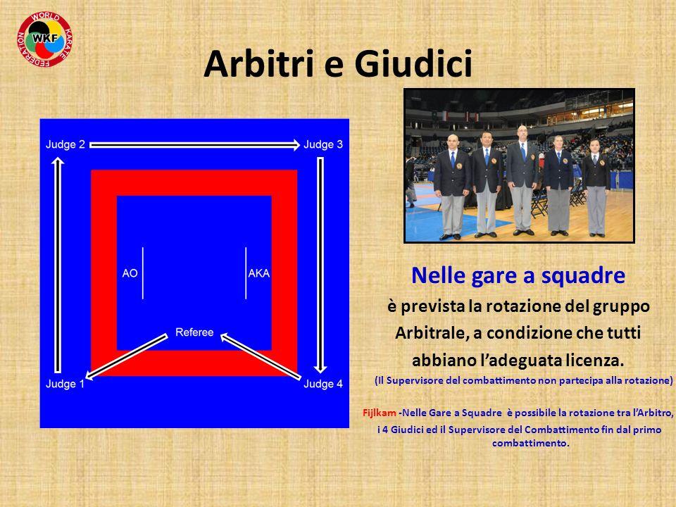 Arbitri e Giudici Nelle gare a squadre è prevista la rotazione del gruppo Arbitrale, a condizione che tutti abbiano ladeguata licenza. (Il Supervisore