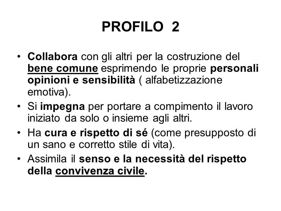 PROFILO 2 Collabora con gli altri per la costruzione del bene comune esprimendo le proprie personali opinioni e sensibilità ( alfabetizzazione emotiva