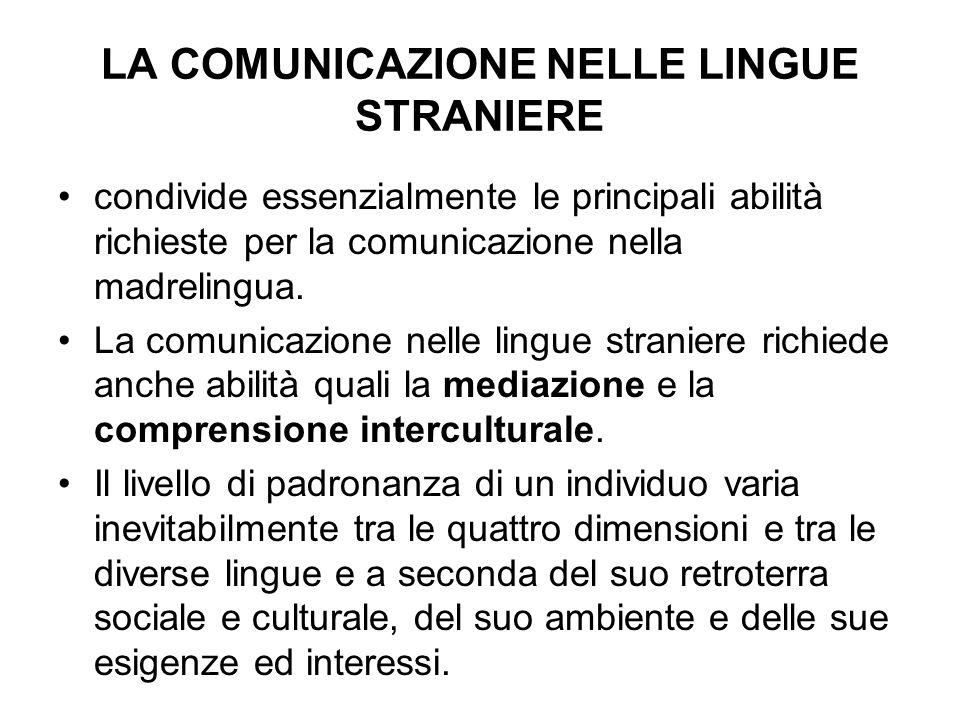 LA COMUNICAZIONE NELLE LINGUE STRANIERE condivide essenzialmente le principali abilità richieste per la comunicazione nella madrelingua. La comunicazi