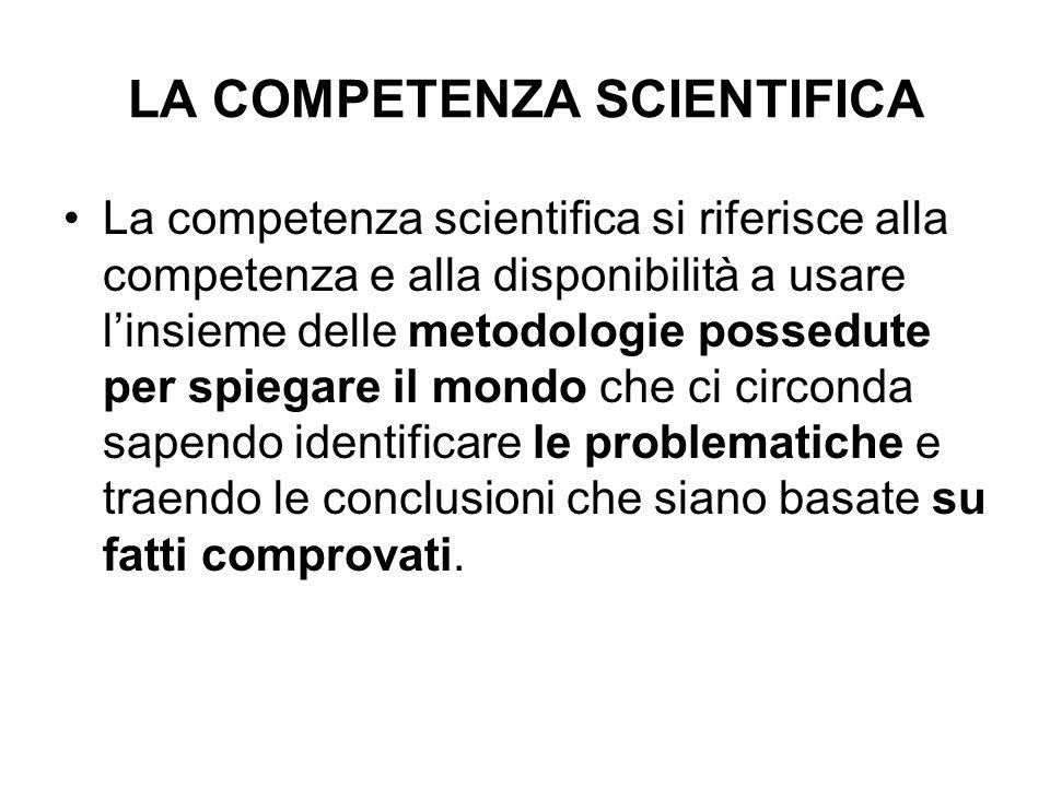 LA COMPETENZA SCIENTIFICA La competenza scientifica si riferisce alla competenza e alla disponibilità a usare linsieme delle metodologie possedute per