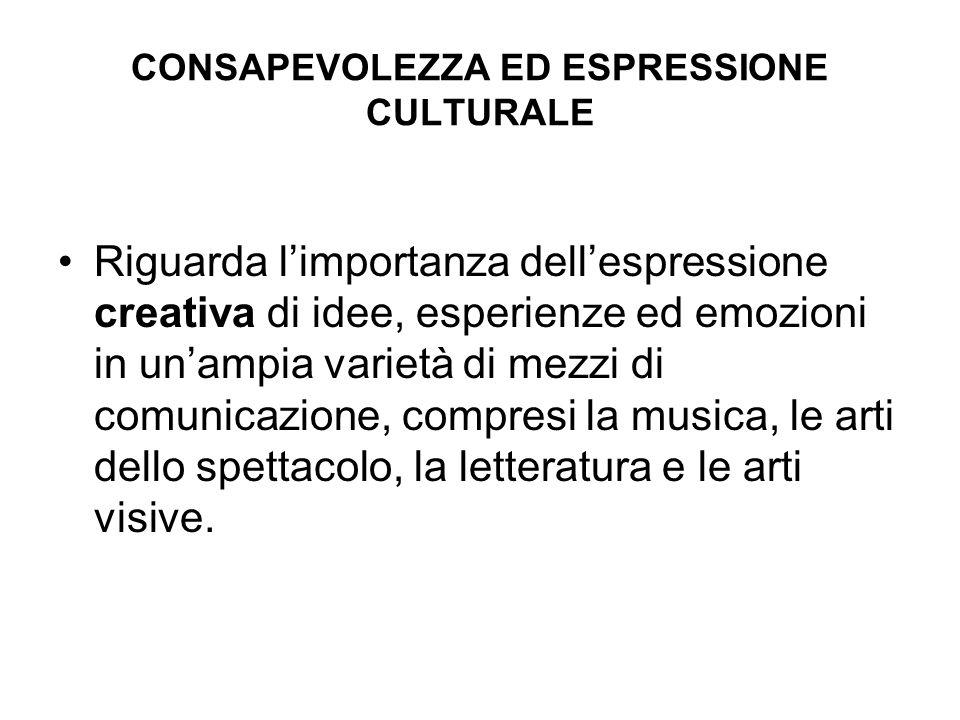 CONSAPEVOLEZZA ED ESPRESSIONE CULTURALE Riguarda limportanza dellespressione creativa di idee, esperienze ed emozioni in unampia varietà di mezzi di c