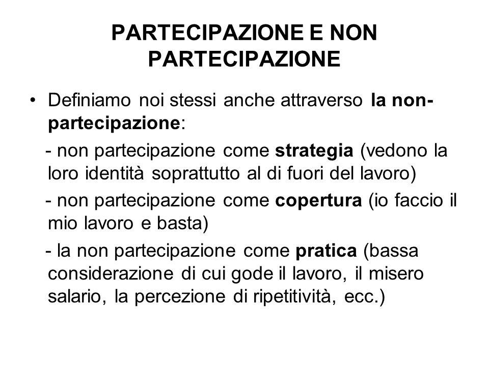 PARTECIPAZIONE E NON PARTECIPAZIONE Definiamo noi stessi anche attraverso la non- partecipazione: - non partecipazione come strategia (vedono la loro