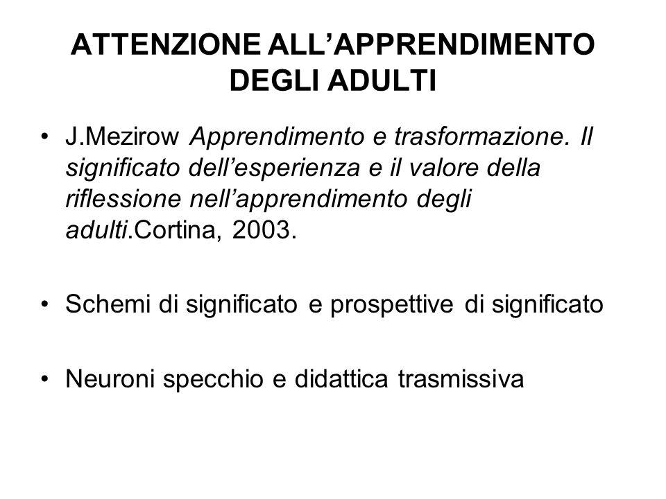 ATTENZIONE ALLAPPRENDIMENTO DEGLI ADULTI J.Mezirow Apprendimento e trasformazione. Il significato dellesperienza e il valore della riflessione nellapp