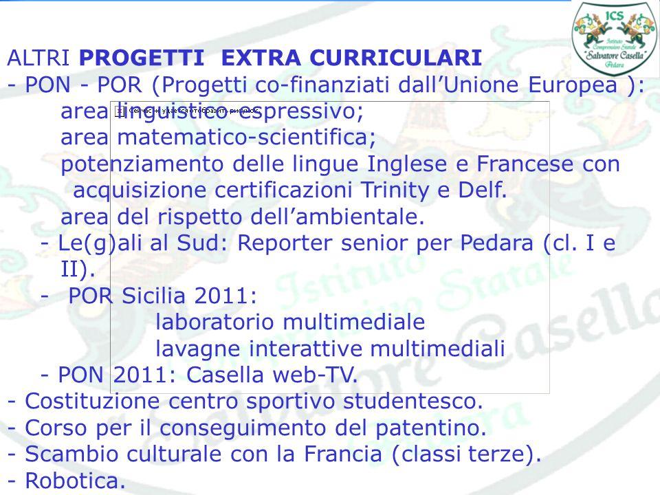 ALTRI PROGETTI EXTRA CURRICULARI - PON - POR (Progetti co-finanziati dallUnione Europea ): area linguistico-espressivo; area matematico-scientifica; p
