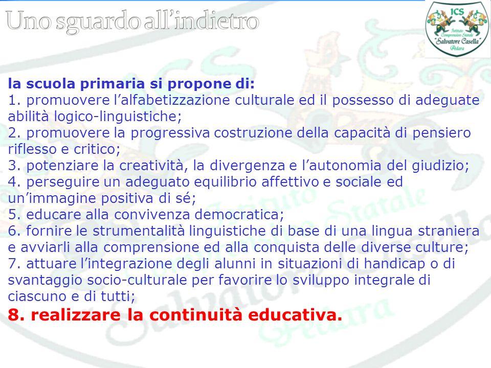 la scuola primaria si propone di: 1. promuovere lalfabetizzazione culturale ed il possesso di adeguate abilità logico-linguistiche; 2. promuovere la p