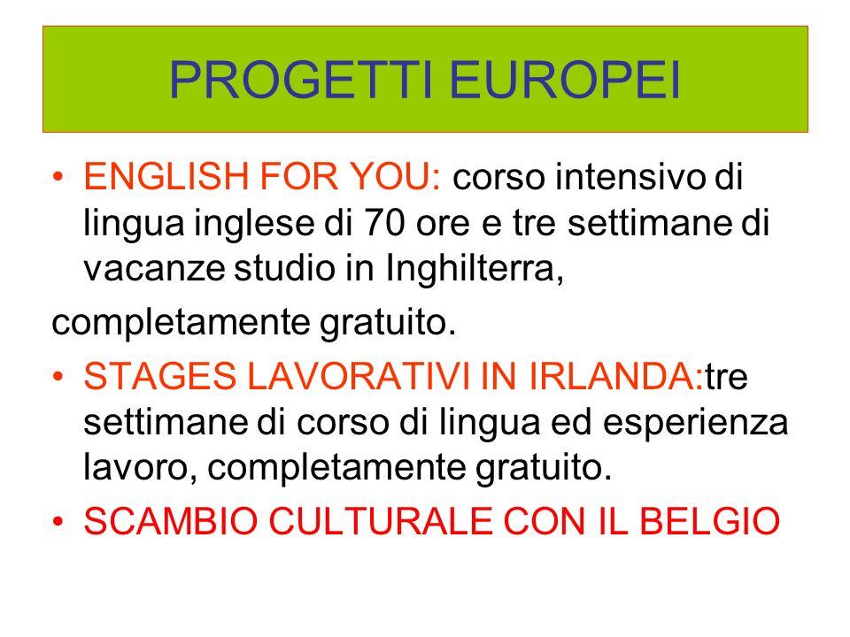 PROGETTI EUROPEI ENGLISH FOR YOU: corso intensivo di lingua inglese di 70 ore e tre settimane di vacanze studio in Inghilterra, completamente gratuito