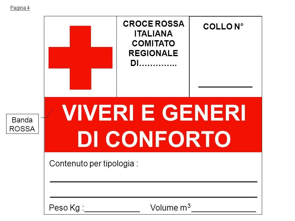 CROCE ROSSA ITALIANA COMITATO REGIONALE DI………….. COLLO N° Contenuto per tipologia : VIVERI E GENERI DI CONFORTO Peso Kg :____________ Volume m _______