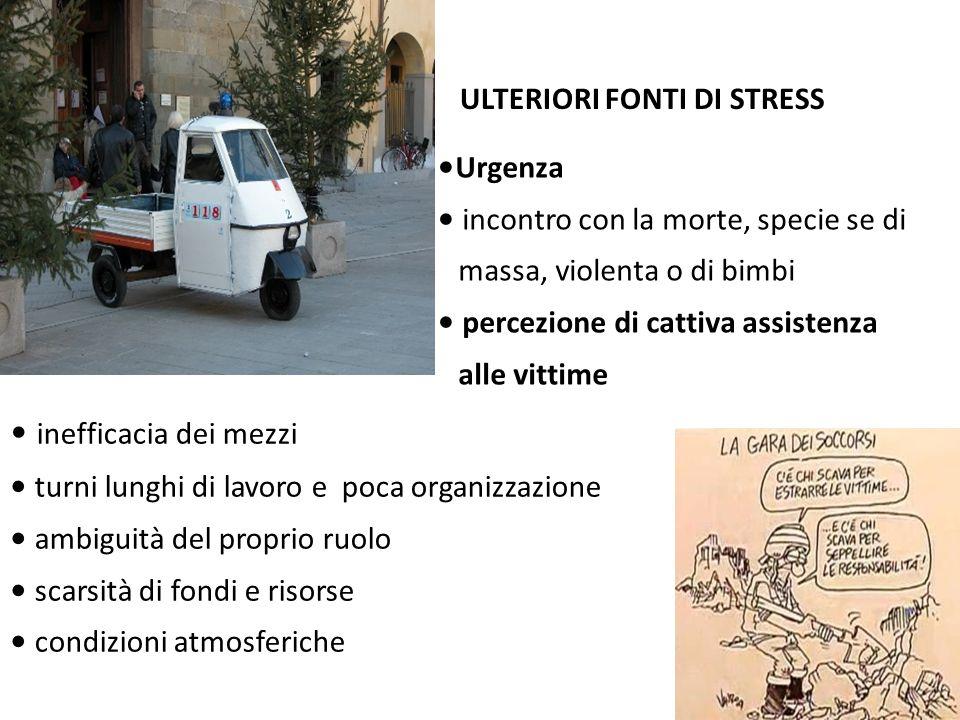ULTERIORI FONTI DI STRESS inefficacia dei mezzi turni lunghi di lavoro e poca organizzazione ambiguità del proprio ruolo scarsità di fondi e risorse c