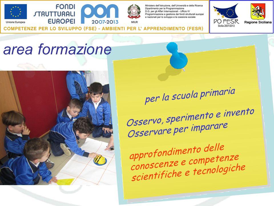 area formazione per la scuola primaria Osservo, sperimento e invento Osservare per imparare approfondimento delle conoscenze e competenze scientifiche e tecnologiche