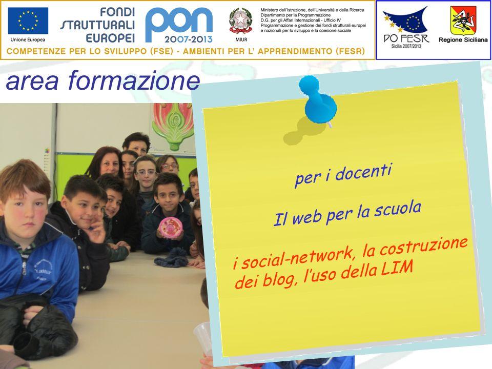 area formazione per i docenti Il web per la scuola i social-network, la costruzione dei blog, luso della LIM