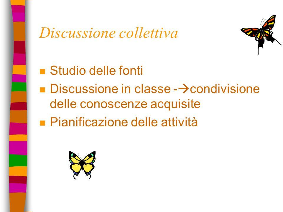 Discussione collettiva n Studio delle fonti n Discussione in classe - condivisione delle conoscenze acquisite n Pianificazione delle attività