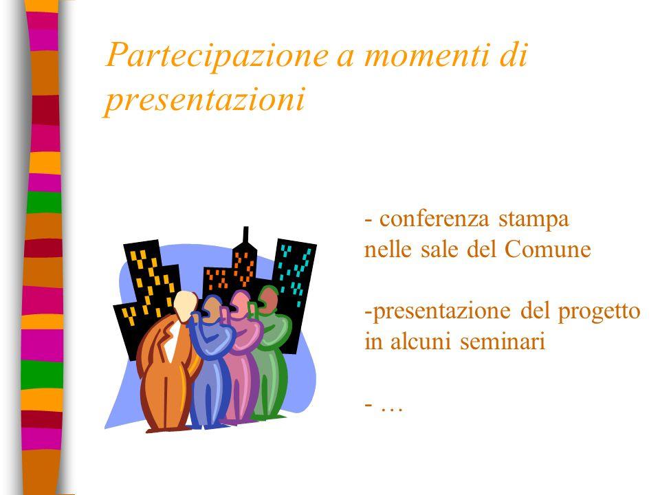 Partecipazione a momenti di presentazioni - conferenza stampa nelle sale del Comune -presentazione del progetto in alcuni seminari - …