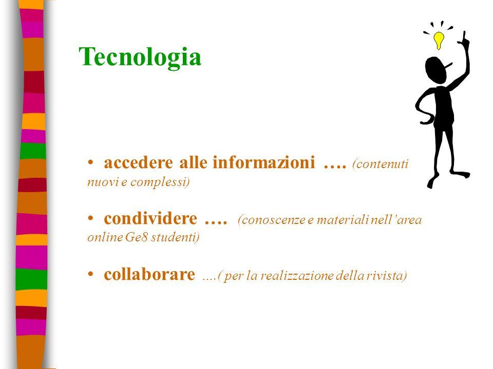 Tecnologia accedere alle informazioni …. (contenuti nuovi e complessi) condividere …. (conoscenze e materiali nellarea online Ge8 studenti) collaborar