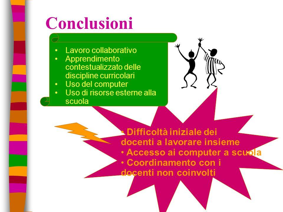 Conclusioni Difficoltà iniziale dei docenti a lavorare insieme Accesso ai computer a scuola Coordinamento con i docenti non coinvolti Lavoro collabora
