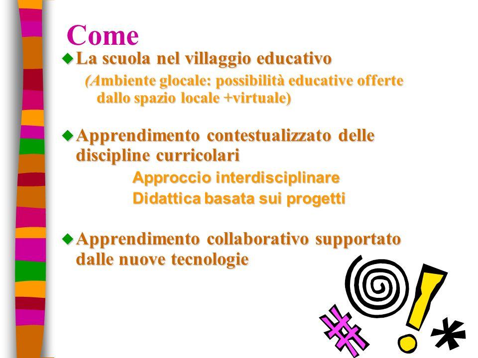 Come u La scuola nel villaggio educativo (Ambiente glocale: possibilità educative offerte dallo spazio locale +virtuale) u Apprendimento contestualizz