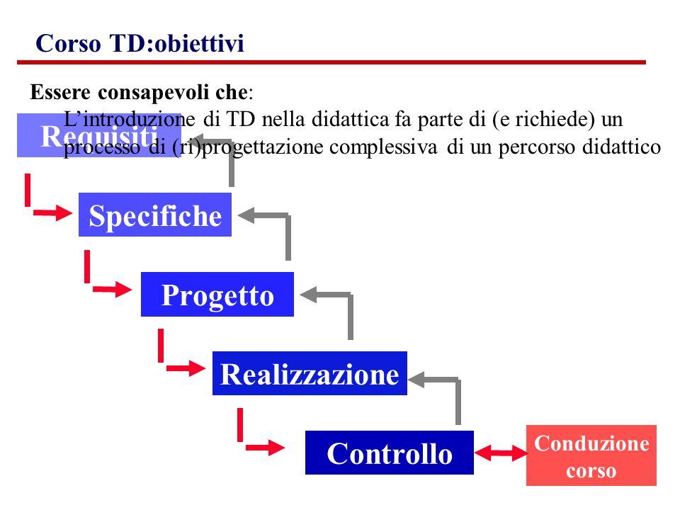 Requisiti Progetto Realizzazione Controllo Conduzione corso Specifiche Corso TD:obiettivi Essere consapevoli che: Lintroduzione di TD nella didattica