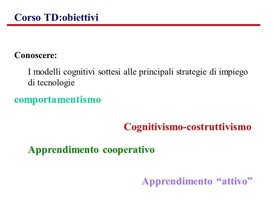 Conoscere: I modelli cognitivi sottesi alle principali strategie di impiego di tecnologie Corso TD:obiettivi comportamentismo Cognitivismo-costruttivi