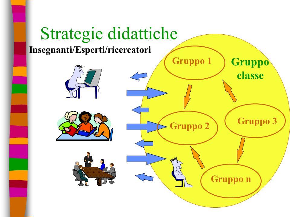 Strategie didattiche Gruppo 1 Insegnanti/Esperti/ricercatori Gruppo 3 Gruppo 2 Gruppo n Gruppo classe