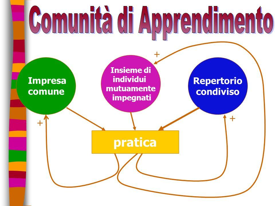n Insieme di individui mutuamente impegnati Repertorio condiviso pratica Impresa comune + + +