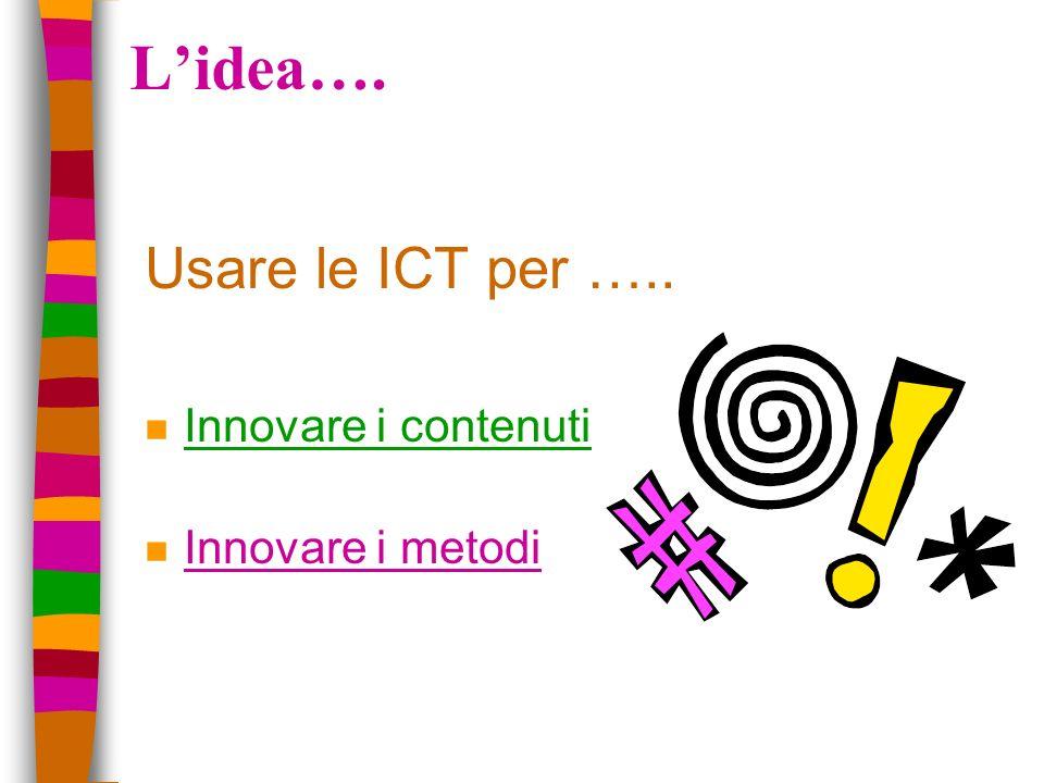 Lidea…. Usare le ICT per ….. n Innovare i contenuti n Innovare i metodi