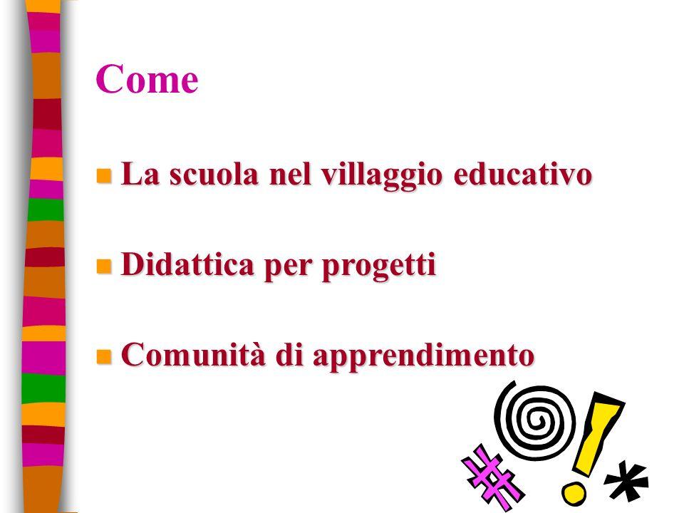 Come n La scuola nel villaggio educativo n Didattica per progetti n Comunità di apprendimento
