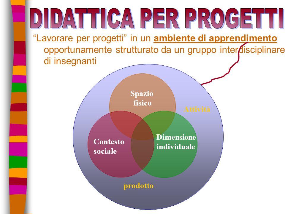 Lavorare per progetti in un ambiente di apprendimento opportunamente strutturato da un gruppo interdisciplinare di insegnanti Contesto sociale Dimensione individuale Spazio fisico Attività prodotto