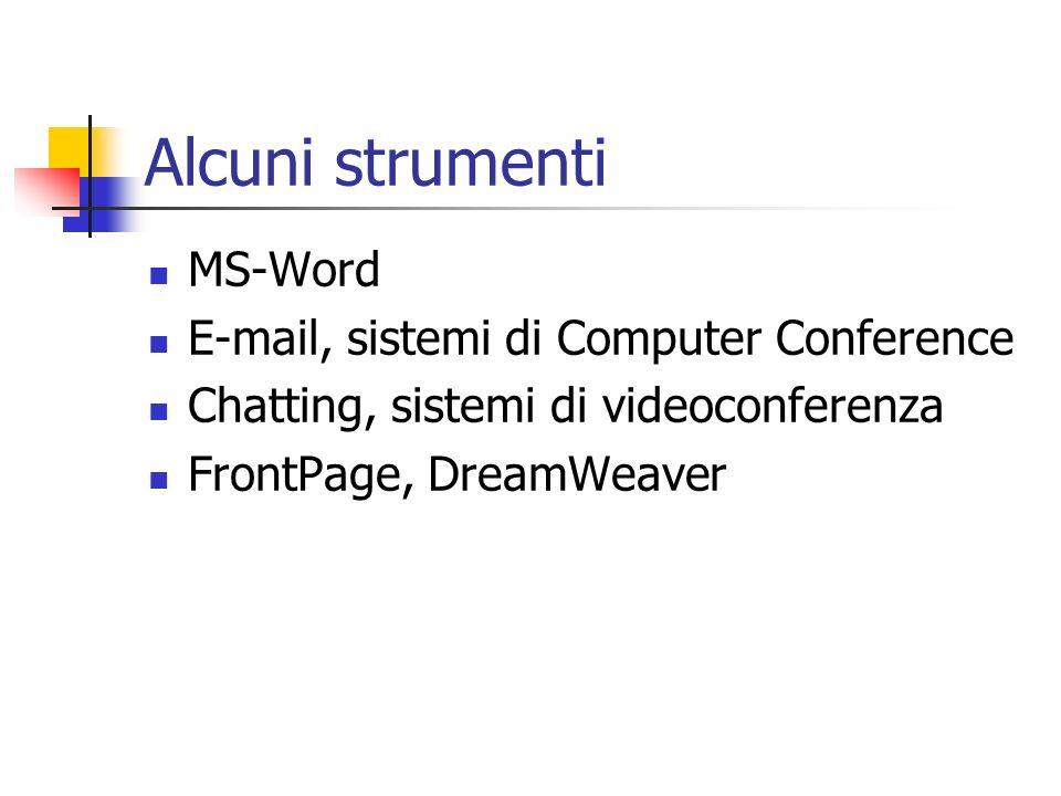 Alcuni strumenti MS-Word E-mail, sistemi di Computer Conference Chatting, sistemi di videoconferenza FrontPage, DreamWeaver