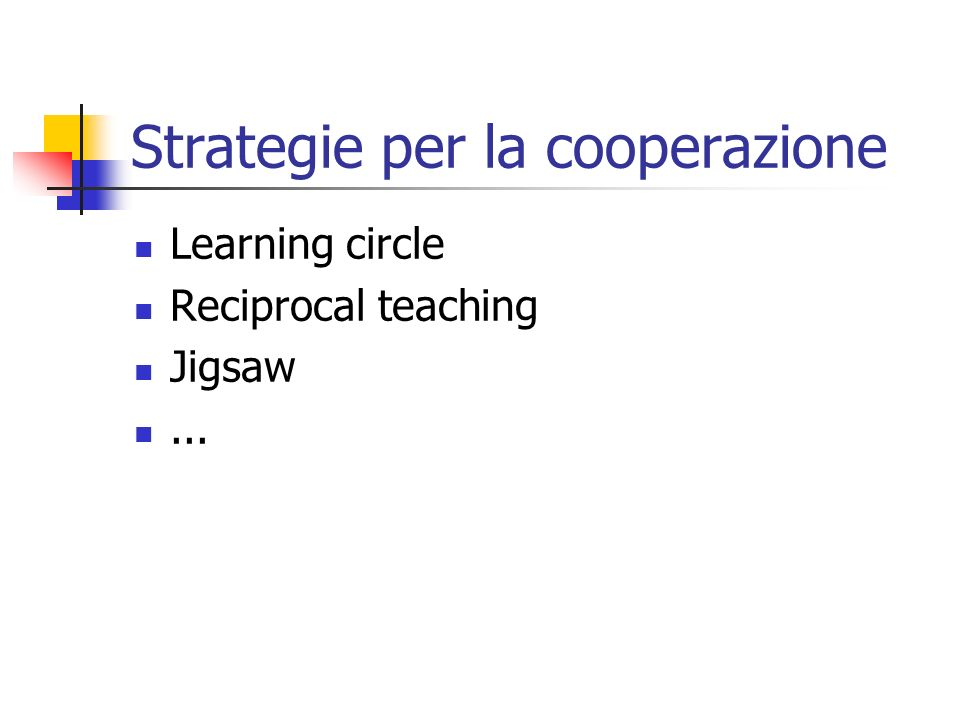 Strategie per la cooperazione Learning circle Reciprocal teaching Jigsaw...