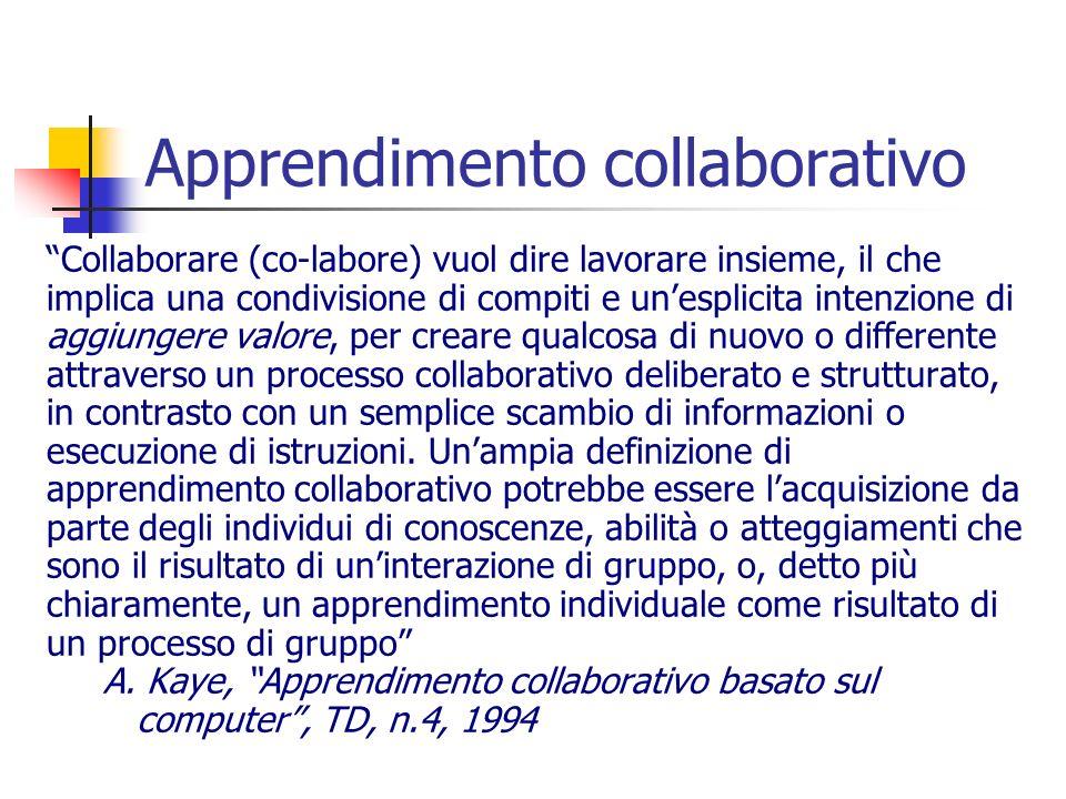 Apprendimento collaborativo Collaborare (co-labore) vuol dire lavorare insieme, il che implica una condivisione di compiti e unesplicita intenzione di aggiungere valore, per creare qualcosa di nuovo o differente attraverso un processo collaborativo deliberato e strutturato, in contrasto con un semplice scambio di informazioni o esecuzione di istruzioni.