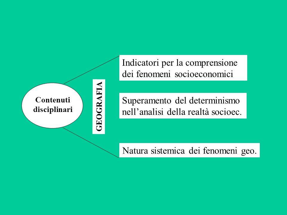 Indicatori per la comprensione dei fenomeni socioeconomici Superamento del determinismo nellanalisi della realtà socioec.