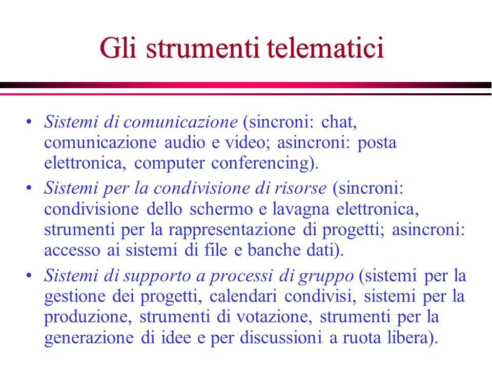 Gli strumenti telematici Sistemi di comunicazione (sincroni: chat, comunicazione audio e video; asincroni: posta elettronica, computer conferencing).