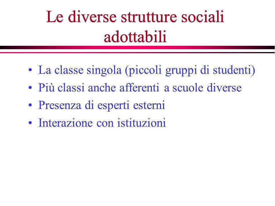 Le diverse strutture sociali adottabili La classe singola (piccoli gruppi di studenti) Più classi anche afferenti a scuole diverse Presenza di esperti esterni Interazione con istituzioni