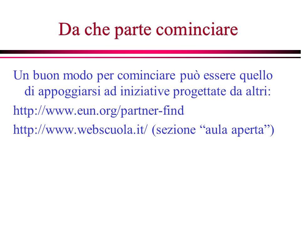 Da che parte cominciare Un buon modo per cominciare può essere quello di appoggiarsi ad iniziative progettate da altri: http://www.eun.org/partner-find http://www.webscuola.it/ (sezione aula aperta)