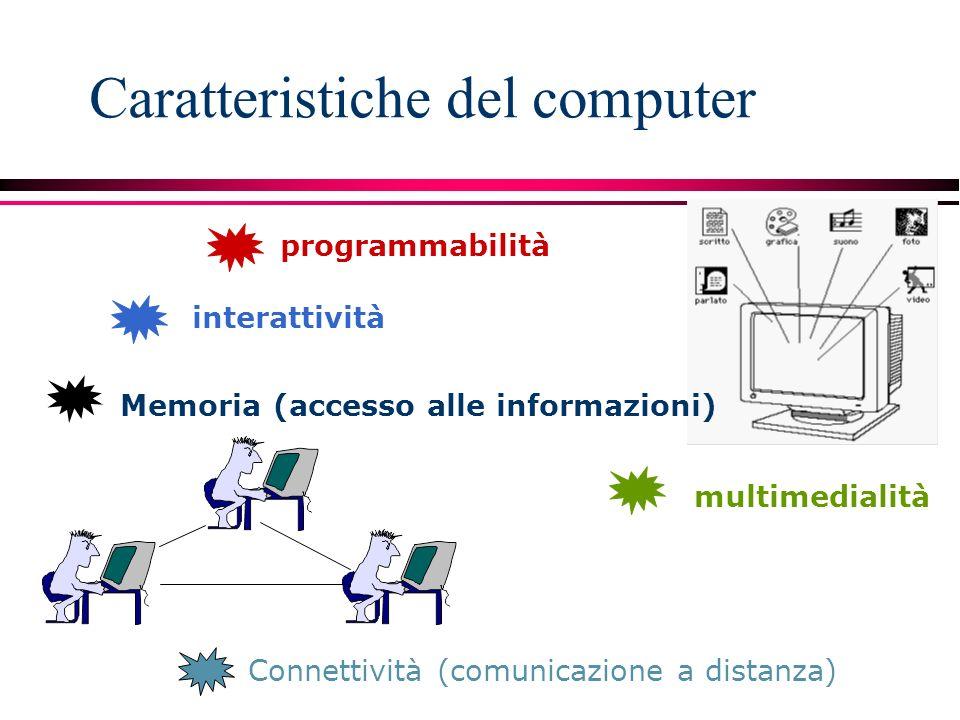 Caratteristiche del computer multimedialità programmabilità interattività Connettività (comunicazione a distanza) Memoria (accesso alle informazioni)