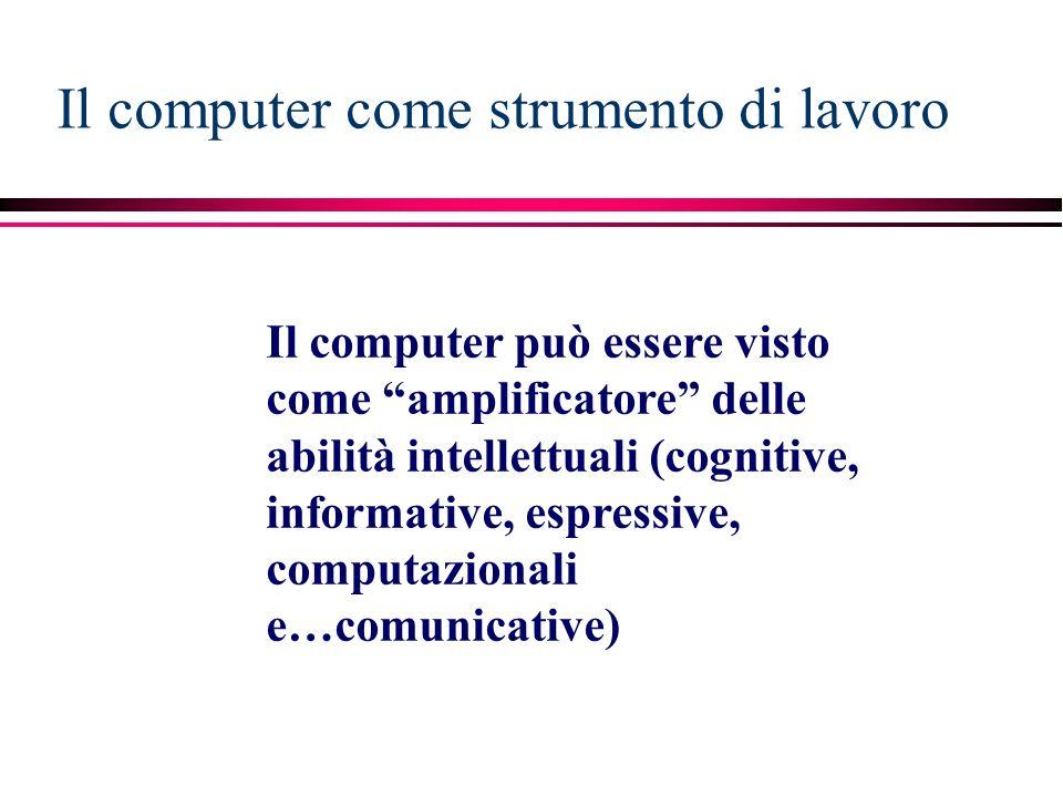 Il computer come strumento di lavoro Il computer può essere visto come amplificatore delle abilità intellettuali (cognitive, informative, espressive, computazionali e…comunicative)