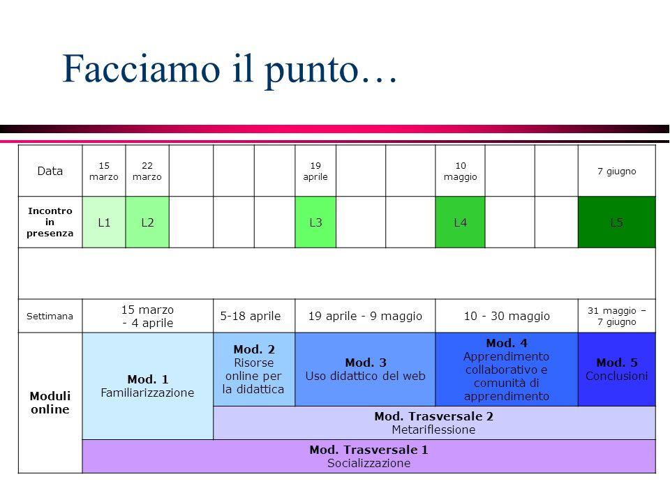 Facciamo il punto… Data 15 marzo 22 marzo 19 aprile 10 maggio 7 giugno Incontro in presenza L1L2L3L4L5 Settimana 15 marzo - 4 aprile 5-18 aprile19 aprile - 9 maggio10 - 30 maggio 31 maggio – 7 giugno Moduli online Mod.