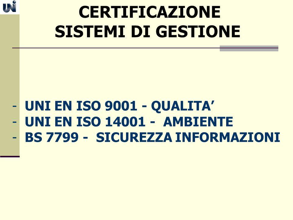 CERTIFICAZIONE SISTEMI DI GESTIONE - UNI EN ISO 9001 - QUALITA - UNI EN ISO 14001 - AMBIENTE - BS 7799 - SICUREZZA INFORMAZIONI