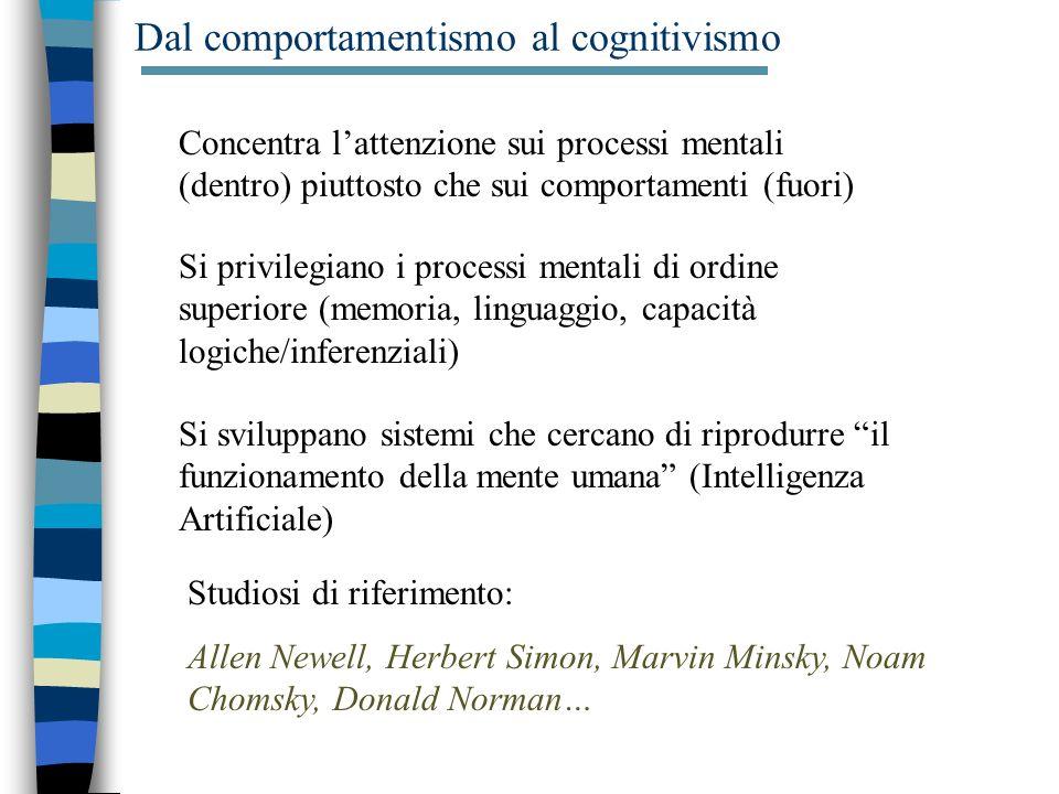 Dal comportamentismo al cognitivismo Concentra lattenzione sui processi mentali (dentro) piuttosto che sui comportamenti (fuori) Si sviluppano sistemi che cercano di riprodurre il funzionamento della mente umana (Intelligenza Artificiale) Si privilegiano i processi mentali di ordine superiore (memoria, linguaggio, capacità logiche/inferenziali) Studiosi di riferimento: Allen Newell, Herbert Simon, Marvin Minsky, Noam Chomsky, Donald Norman…