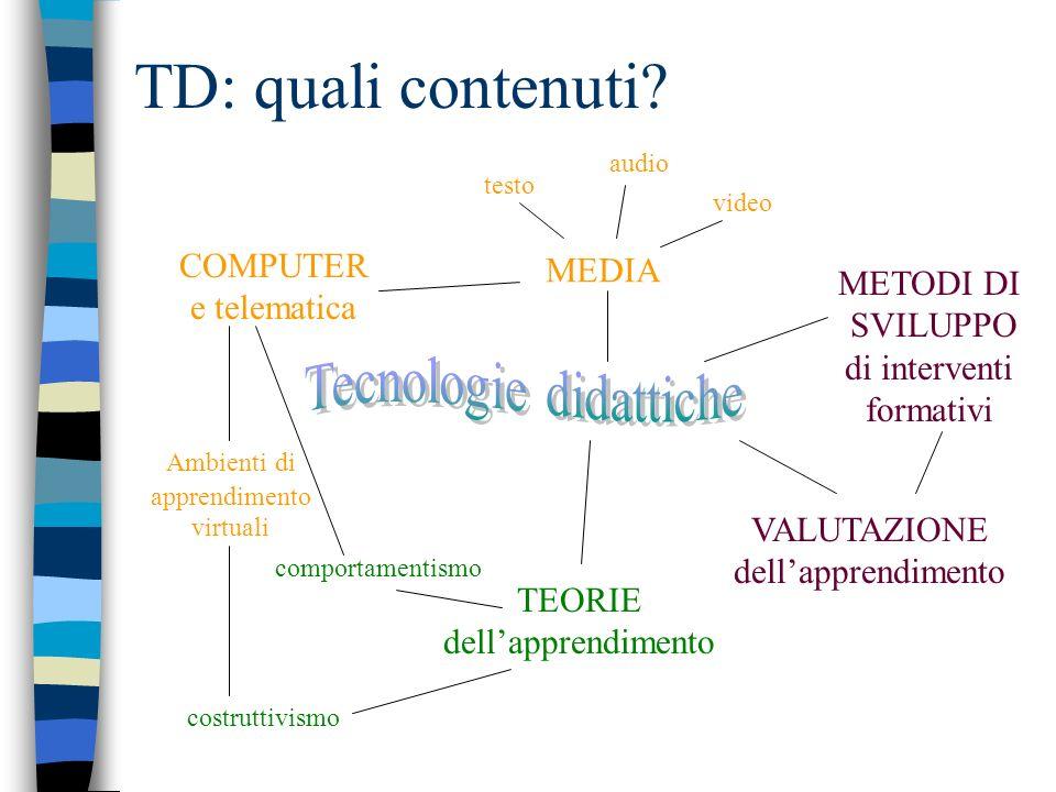 TD: quali contenuti? MEDIA Ambienti di apprendimento virtuali VALUTAZIONE dellapprendimento METODI DI SVILUPPO di interventi formativi COMPUTER e tele