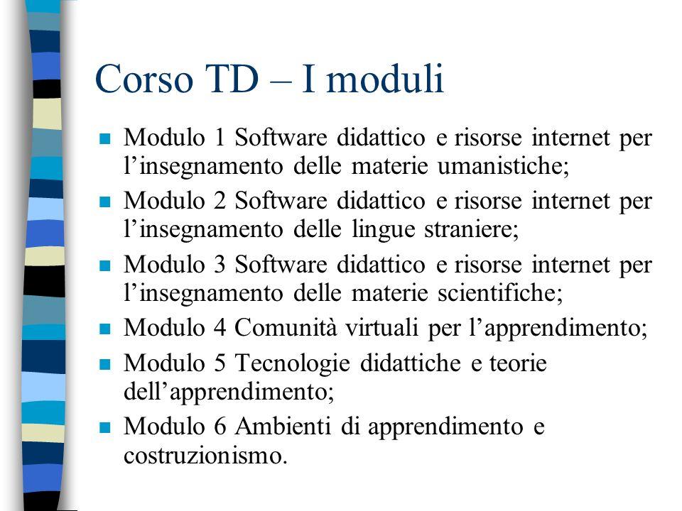 Corso TD – I moduli n Modulo 1Software didattico e risorse internet per linsegnamento delle materie umanistiche; n Modulo 2Software didattico e risors