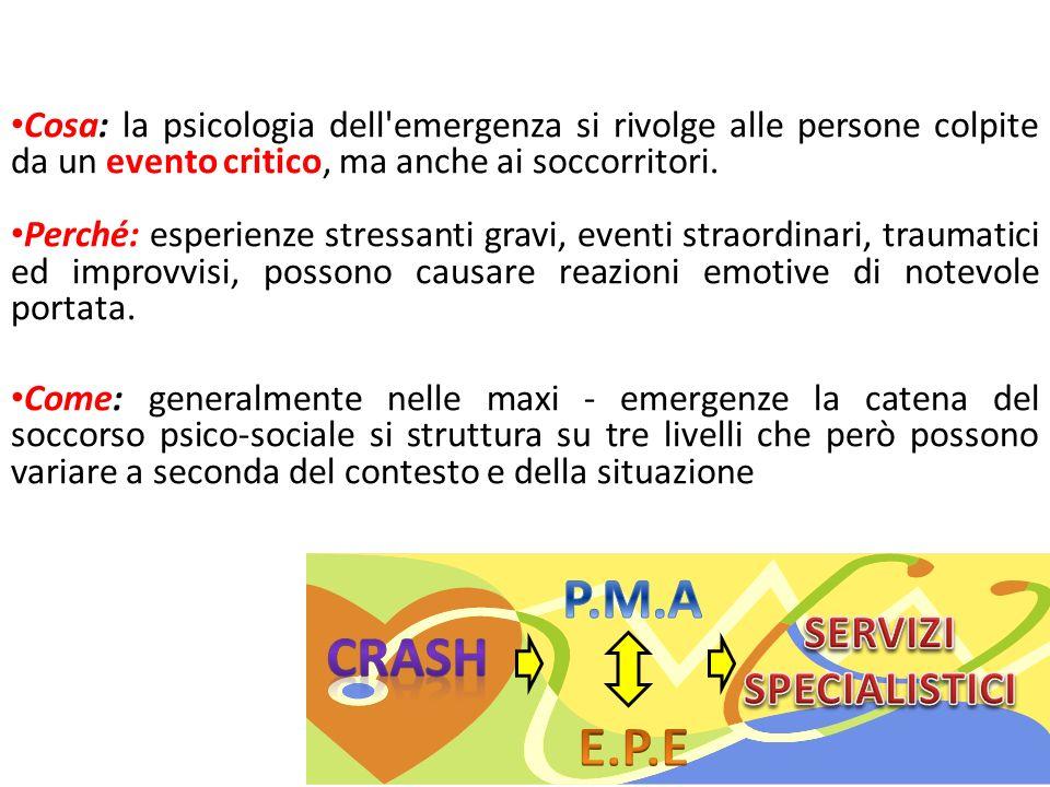 Cosa: la psicologia dell'emergenza si rivolge alle persone colpite da un evento critico, ma anche ai soccorritori. Perché: esperienze stressanti gravi
