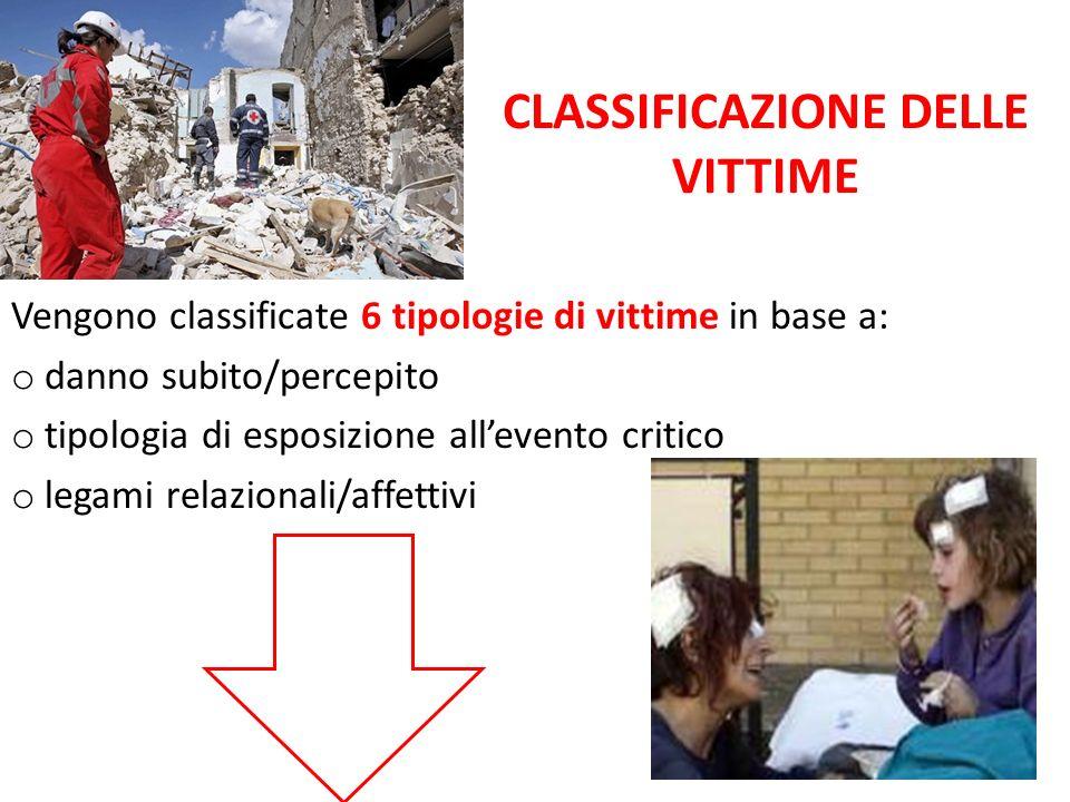 CLASSIFICAZIONE DELLE VITTIME Vengono classificate 6 tipologie di vittime in base a: o danno subito/percepito o tipologia di esposizione allevento cri