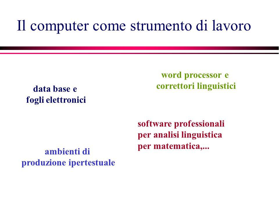 Il computer come strumento di lavoro data base e fogli elettronici ambienti di produzione ipertestuale software professionali per analisi linguistica per matematica,...
